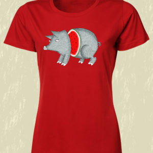 TSHIRT DONNA ROSSO MAIALE CORDA